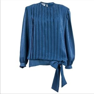 Tops - Vintage Pleated Bow Blouse